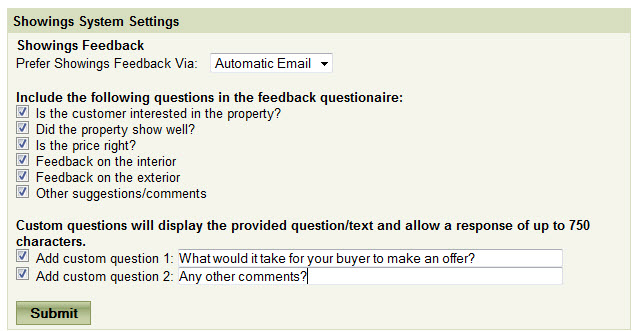 showings questions