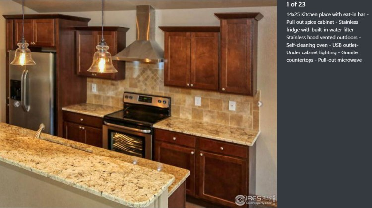 Kitchen listing with descriptive captions