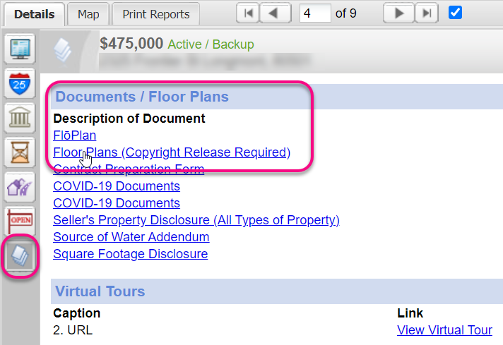 Documents tab in IRES