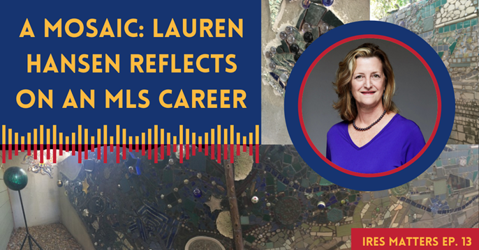 """Image of Lauren Hansen overlaid an image of a 4 foot by 13 foot mosaic that took her two years to complete. Title text says """"A Mosiaic: Lauren Hansen Reflects an MLS Career."""""""